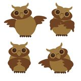 Nice owls in different position Royalty Free Stock Photos