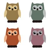 Nice owls on white background Royalty Free Stock Photo