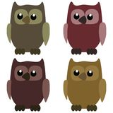 Nice owls on white background Royalty Free Stock Image