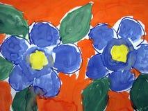 Beautiful painted blue flowers stock photos