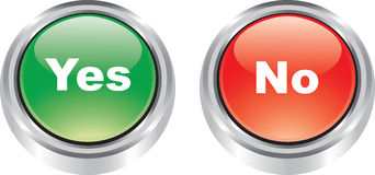 Nice pair of glossy icons like buttons. Nice pair of glossy icons of poitive and negative buttons vector illustration