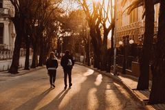 Couple strolling at sunset in ıslands istanbul stock images