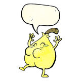 A nice pear cartoon with speech bubble Stock Photos