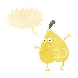 A nice pear cartoon with speech bubble Royalty Free Stock Photography