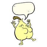 A nice pear cartoon with speech bubble Stock Image