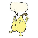 A nice pear cartoon with speech bubble Stock Photography