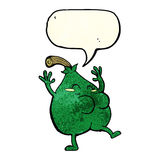 A nice pear cartoon with speech bubble Stock Photo