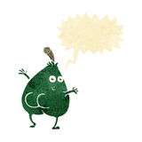 A nice pear cartoon with speech bubble Royalty Free Stock Photos