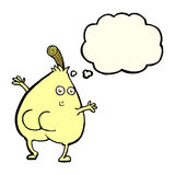 A nice pear cartoon with thought bubble Stock Photography