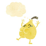 A nice pear cartoon with thought bubble Royalty Free Stock Image