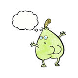 A nice pear cartoon with thought bubble Royalty Free Stock Photography