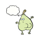 A nice pear cartoon with thought bubble Royalty Free Stock Images