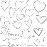 Nice pen hand drawn valentine`s day hearts and arrows stock illustration
