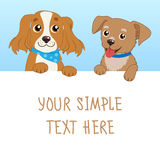 Nice Pet. Cartoon Vector Illustration Of Funny Dogs With White Card Or Board Greeting Card Design. Stock Image