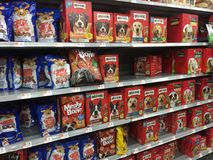 Nice pet food on shelves selling Royalty Free Stock Photo