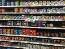 Nice pet food on shelves Royalty Free Stock Photo