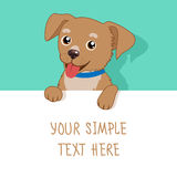 Nice Pet. Vector Cute Dog Holding A White Blank Board, Card Or Banner. Cartoon Puppy. Stock Images