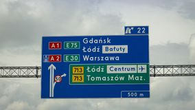 Beautiful photo of sign on a motorway royalty free stock image