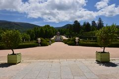 Nice Photo Of The Central Fountain Of The Gardens Of The Farm. Art History Biology. June 19, 2018. La Granja Segovia Spain stock photography