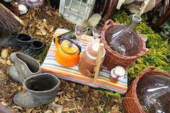 Nice picnic (tea party) in the wine farm Royalty Free Stock Images