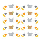 Nice picture with colorful cups, saucers, gravy boats and croiss. Art Royalty Free Illustration