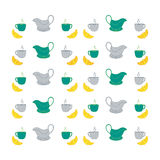 Nice picture with colorful cups, saucers, gravy boats. Vector Royalty Free Stock Photography