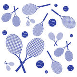 Nice picture of colorful rackets and balls for tennis lessons Royalty Free Stock Images