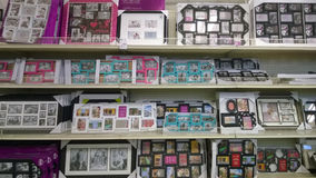 Nice picture frames  on shelves selling. Picture frames on shelves selling at the store Garden Ridge, USA Royalty Free Stock Images