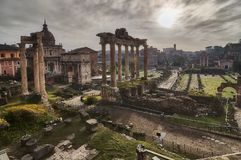 Roman Forum at dawn in Rome, Italy royalty free stock photos