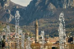 Lecco. A nice picture trough the water royalty free stock images