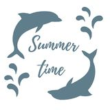 Nice picture with two colored dolphins with splashes and inscrip. Tion Summer time on white background Stock Photo