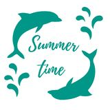 Nice picture with two colored dolphins with splashes and inscrip. Tion Summer time on white background Stock Images