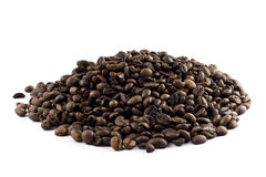 Nice pile of coffee beans isolated Stock Image