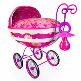 Nice pink cartoon pram Royalty Free Stock Image