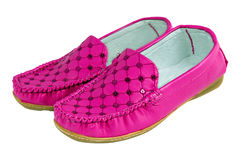 Nice pink young lady stylish bright shoes Stock Photos