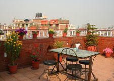 A nice place for a breakfast on a roof, Kathmandu Stock Image
