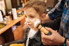 Nice pleasant boy having his first shaving. I am a grownup. Nice pleasant cute boy having some foam on his cheek and having his first shaving while being in the stock photos
