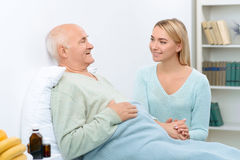 Nice pleasant conversation of two relatives at royalty free stock photo