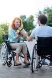 Positive wheelchaired woman getting flowers from her caring disabled husband. So nice. Pleasant smiling senior women sitting in the wheelchair and getting Stock Photos