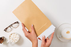 Nice pleasant woman sending letters Royalty Free Stock Images