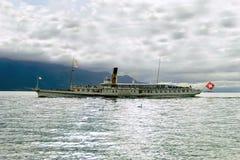 Nice pleasure boat on lake Geneva in Vevey, Switzerland Stock Image