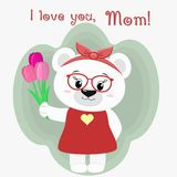 A nice polar bear holds three tulips. Congratulations on your mother`s day, in the style of cartoons. Royalty Free Stock Images
