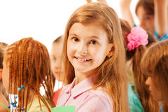 Nice portrait of beautiful girl in the crowd Royalty Free Stock Photography