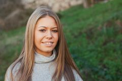 Nice portrait of blonde girl royalty free stock photos