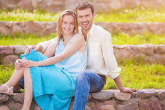 Nice Portrait of Happy Great Looking caucasian Couple Laughing T Stock Images