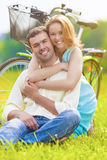 Nice Portrait of Happy Loving Caucasian Couple Sitting Together Stock Image