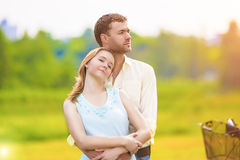Nice Portrait of Happy Romantic Caucasian Couple Standing Togeth Stock Image