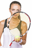 Nice Portrait of a Young Female Tennis Sportswoman Player With N Royalty Free Stock Images