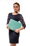 Nice positive cheerful businesswoman holding folder Royalty Free Stock Photography
