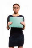 Nice positive cheerful businesswoman holding folder Stock Images